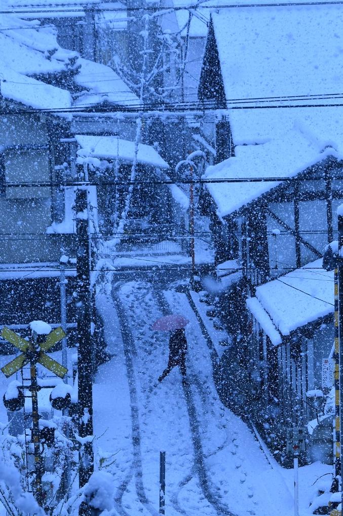 雪を歩く人