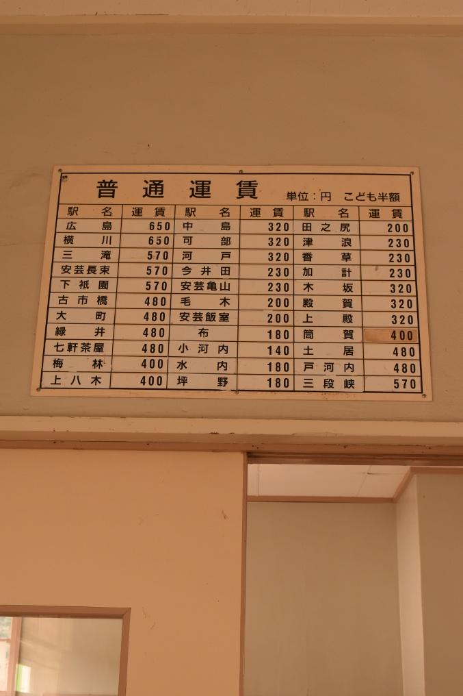 旧安野駅時刻表