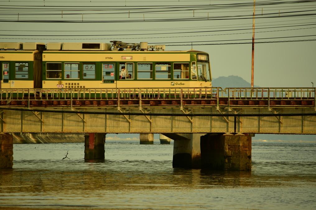 八幡川を渡るひろでん